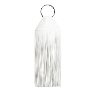 """Kory"" White Fringe Top Ring Clutch"