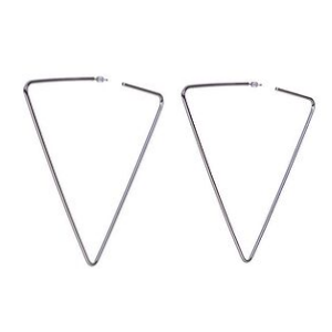Silver Triangle Hoop  Geometric Earrings
