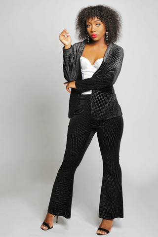Black Velvet And Glitter Polka Dot Pant Suit