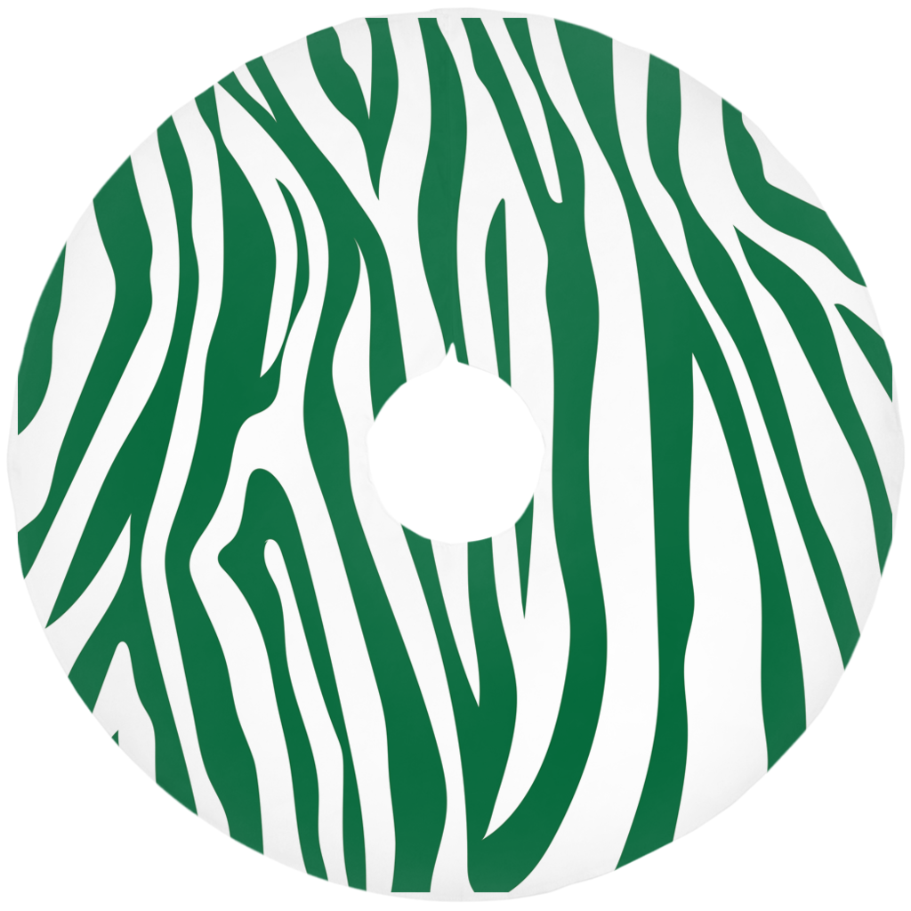 Emerald Zebra Striped Christmas Tree Skirt