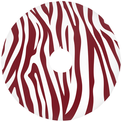 Berry Red Zebra Striped Christmas Tree Skirts