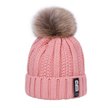 Faux Fur Pom Pom Warm Knitted Winter Hat for Women