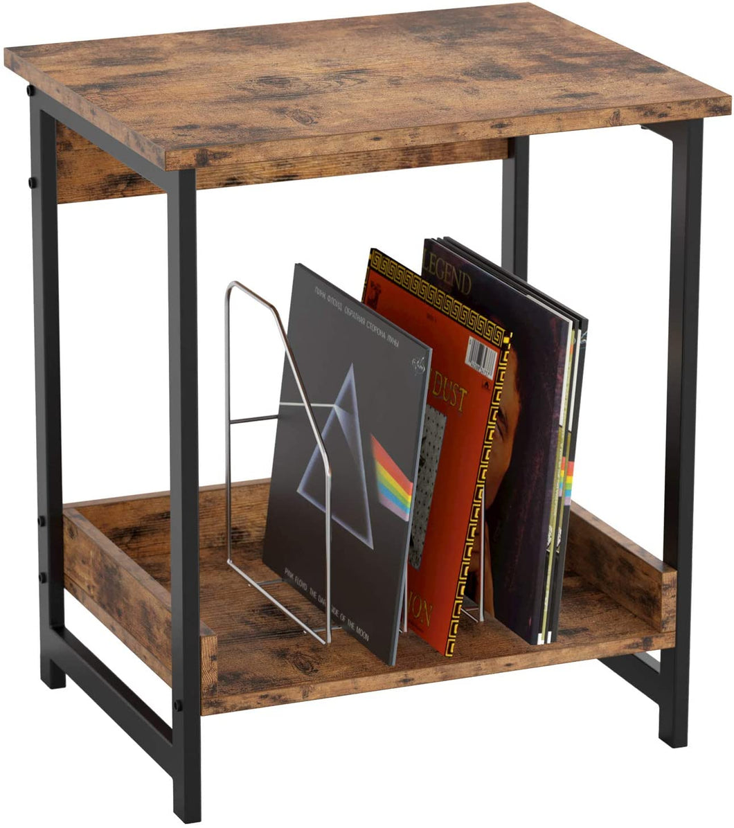 Night Stand Side Table with 2-Tier Storage Shelf