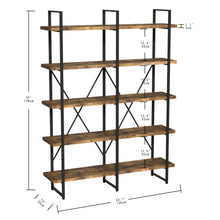 Load image into Gallery viewer, Industrial Double Wide 5-Tier Open Bookcasele