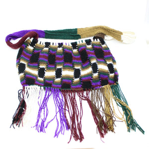Hand-crafted Bilum with base fringing Textiles Melinda & Doreen