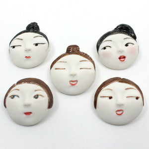 Porcelain Face Brooch Ceramics Dai Li