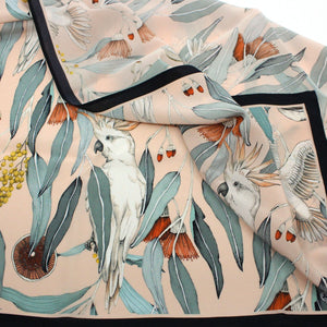 """Cocky Lady"" Peach Square Silk Scarf Textiles Edith Rewa"