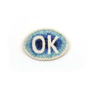 Hand embroidered 'OK' Brooch Jewellery Sewn