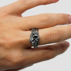 Silver Ring with Black Australian Sapphire Jewellery Jess Blak