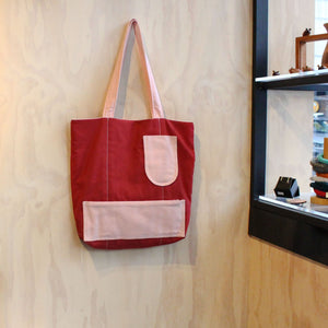 Reversable Tote Bag Textiles & Fibre Lily Mergard Red and Pink