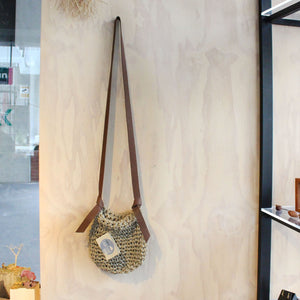 Linen and Leather Bag Small Textiles & Fibre Made In Lisa Land