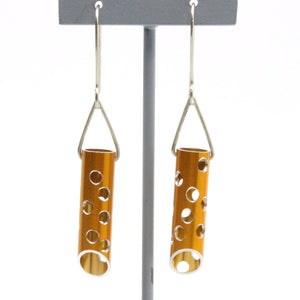 Long Tree Borer Earrings in Gold Jewellery Alison McDonald