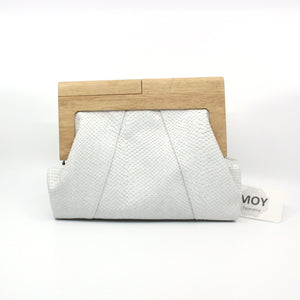 Timber and Leather Clutch with Fabric Lining Leather MOY Tasmania Pink