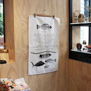 """Fish Soup"" Tea Towel Homewares MOA Arts Fish soup' recipe by Jean Tamwoy"