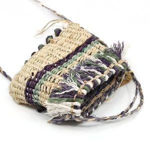 Mini bag (natural, purple, green and white fringing) Fibre Art MOA ARTS