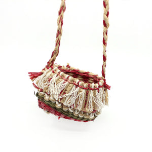 Mini bag (red/whites/green with red/white strap) Fibre Art MOA ARTS