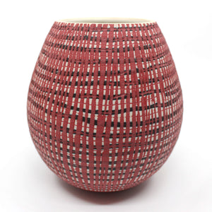 Red with Black inlay vase Homewares Murray Topham