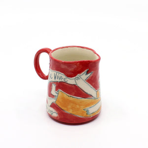 Milk jug with handle (in reds) Ceramics Nadine Sawyer