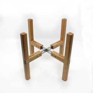 Adjustable Plant Stand Wood Oak and Hide