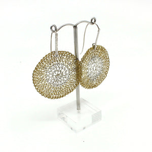 Stainless steel and brass small disc mesh earrings Jewellery Design Crop