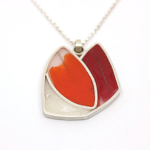 Orange, Red and White Resin Pendant on Sterling Silver Chain Jewellery Paola Raggo