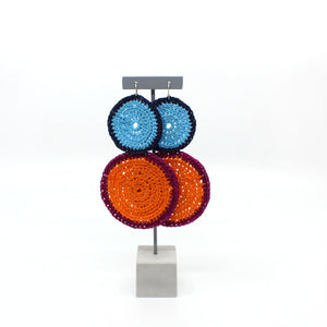 Large Orange, Purple, Blue and Navy Earrings Jewellery Taina Flatz
