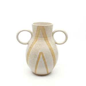White Two Handled Stoneware Vase Ceramics Zed Ceramics