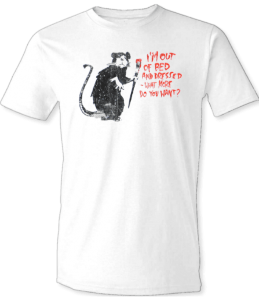 "Printed T-Shirt Shop Unisex T-Shirt Banksy ""Rat Out Of Bed"" T-Shirt Stitch-Up Creative"