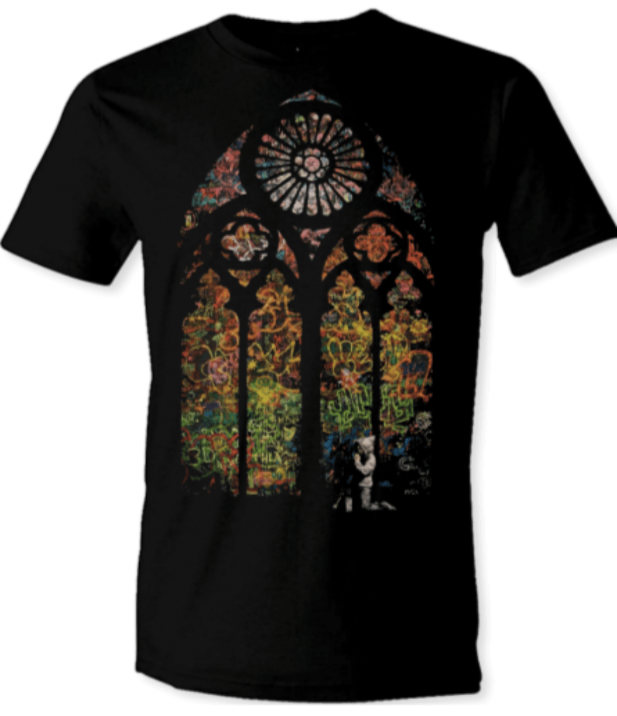 "Printed T-Shirt Shop Unisex T-Shirt Banksy ""Stained Window"" T-Shirt Stitch-Up Creative"