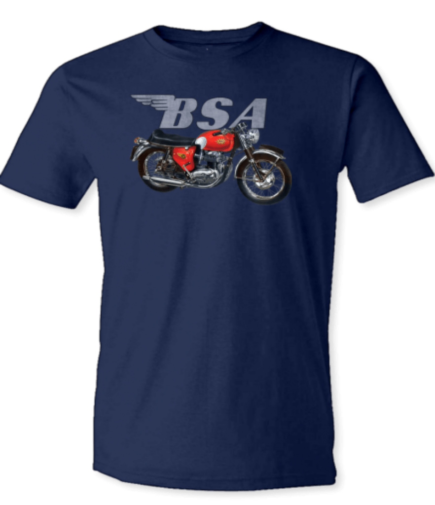 Printed T-Shirt Shop Unisex T-Shirt Small / Navy BSA Motorbike & Logo T-Shirt Stitch-Up Creative
