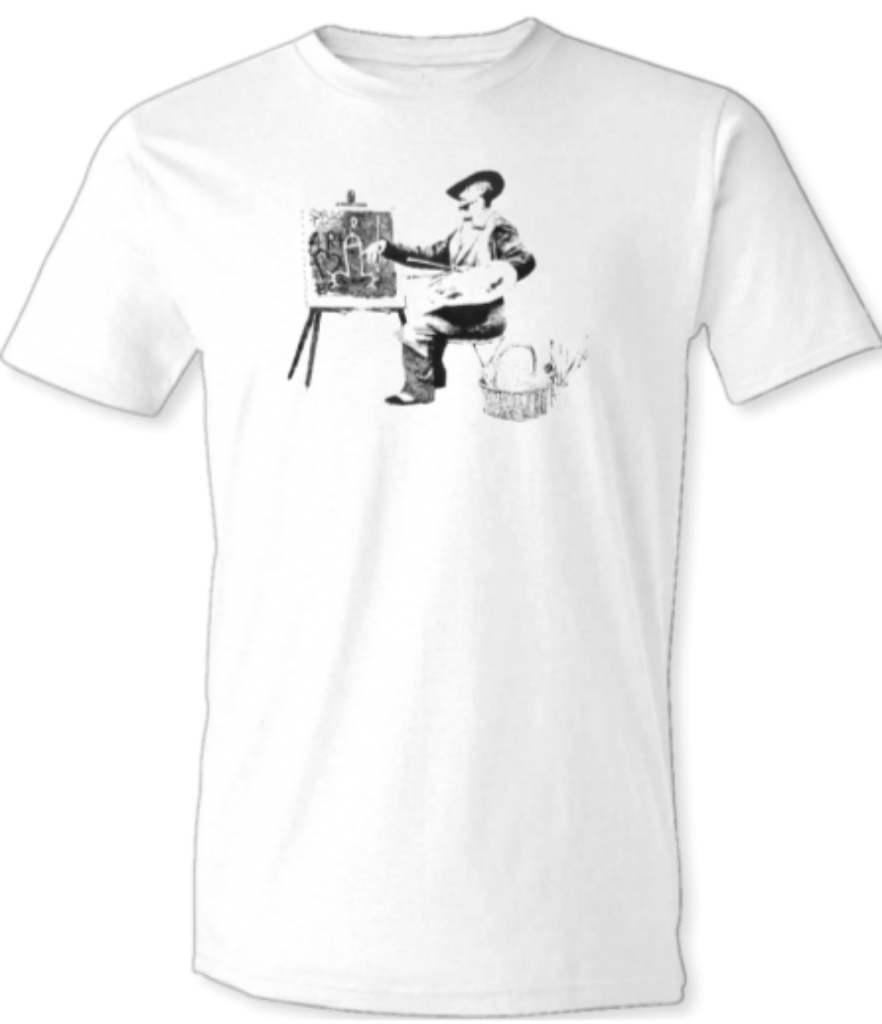 "Printed T-Shirt Shop Unisex T-Shirt Small / White Banksy ""Artist At Work"" T-Shirt Stitch-Up Creative"