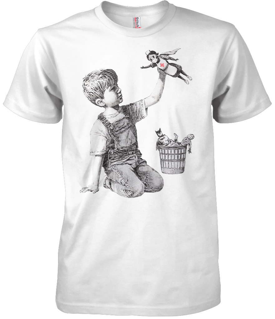 Printed T-Shirt Shop Unisex T-Shirt Small / White Banksy - Nurse T-Shirt Stitch-Up Creative