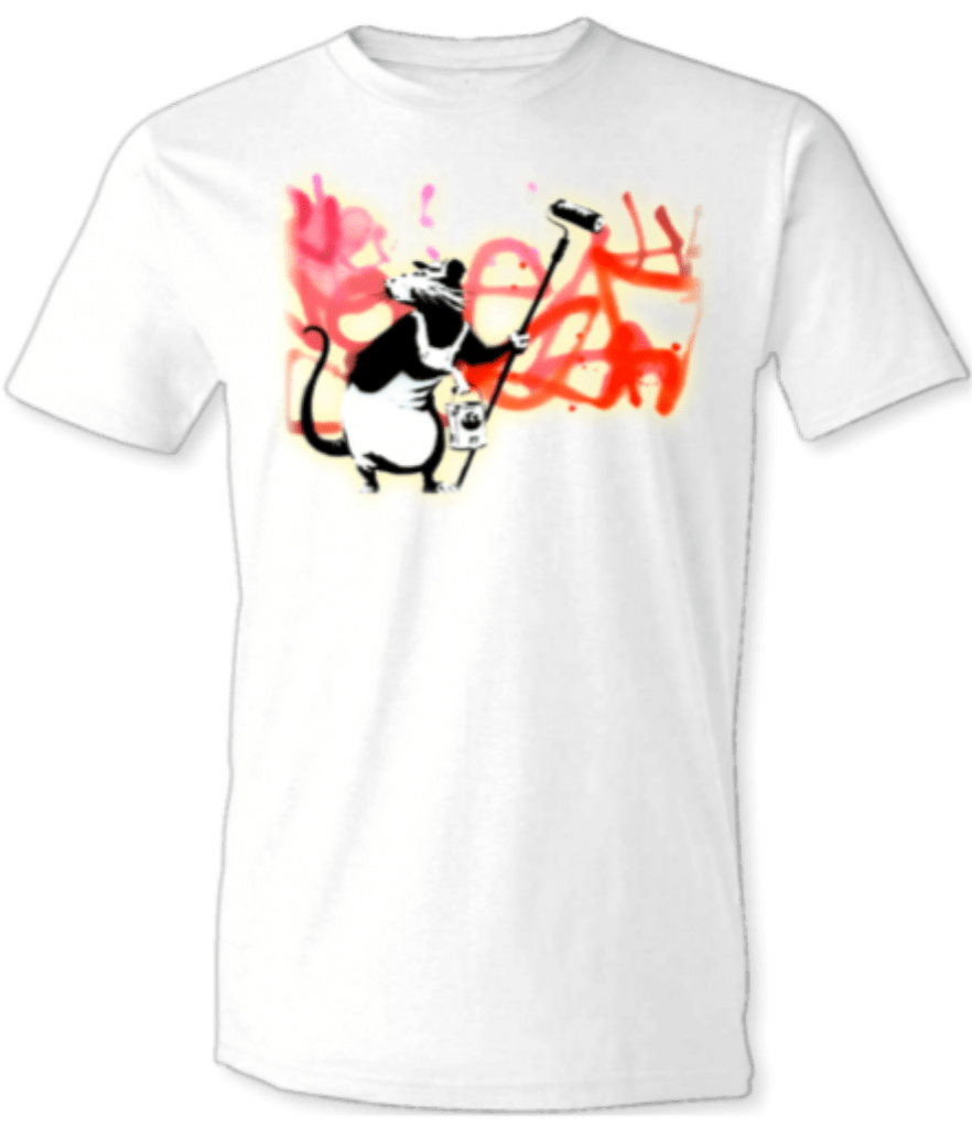 "Printed T-Shirt Shop Unisex T-Shirt Small / White Banksy ""Rolling Rat"" Graffiti T-Shirt Stitch-Up Creative"