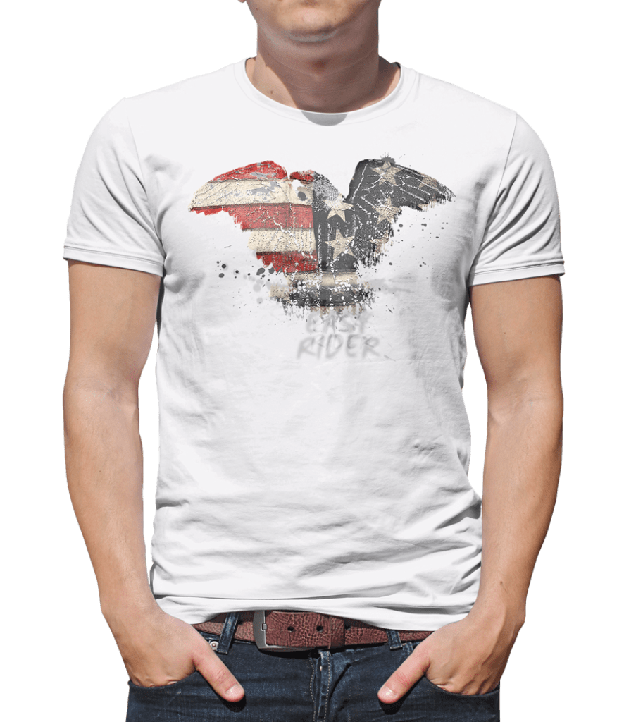 Printed T-Shirt Shop Unisex T-Shirt Small / White Easy Rider Motorbike T-Shirt Stitch-Up Creative