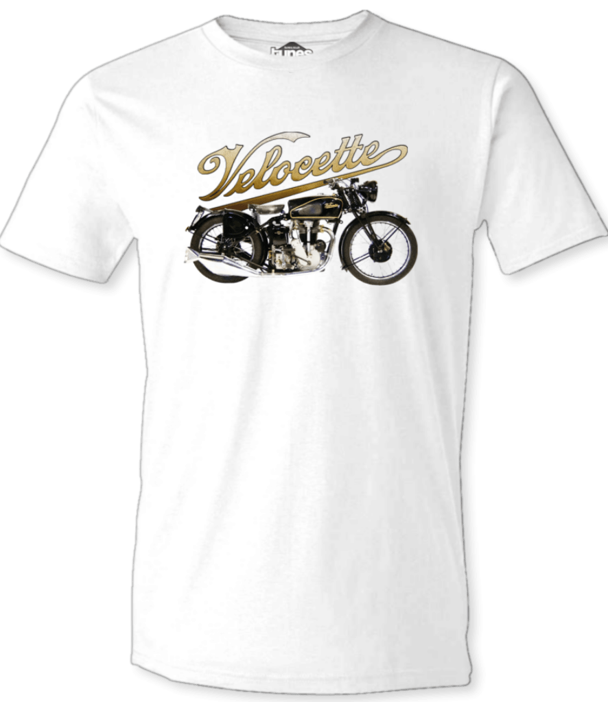 Printed T-Shirt Shop Unisex T-Shirt Small / White Velocette Motorcycle & Logo T-Shirt Stitch-Up Creative