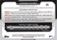 2015 Bowman Draft #118 Carson Fulmer, Chicago White Sox