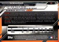 2016 Bowman Chrome #58 Madison Bumgarner, San Francisco Giants