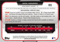 2015 Bowman Draft #193 Nick Howard, Cincinnati Reds