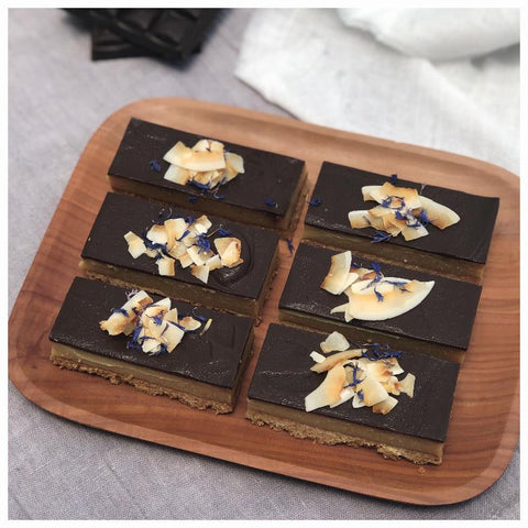 Coconut and Caramel Slice with Dark Chocolate