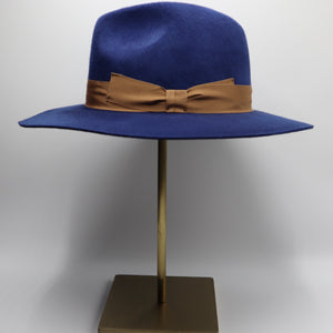 Blue Wool Fedora Hat