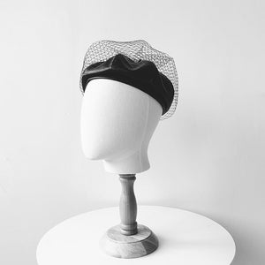 Faux leather beret with veil