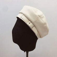 White PU leather beret
