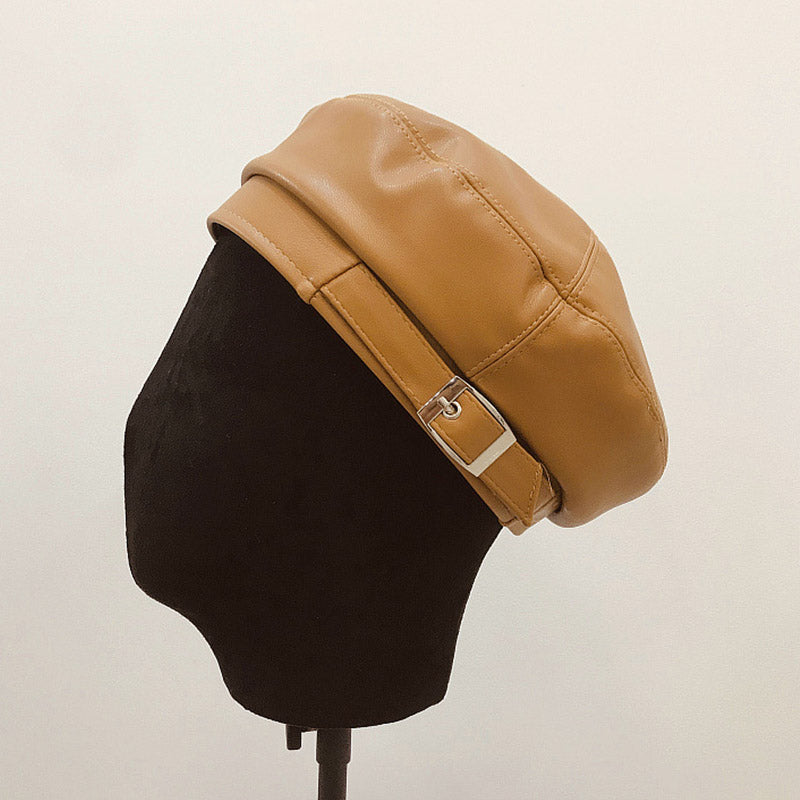 pu  leather beret hat