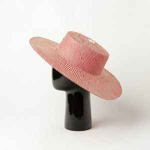 Red striped boater hat