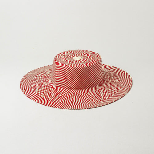 Red striped straw hat