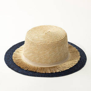 Contrast straw hat