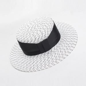 White and black straw boater hat