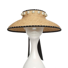 Straw visor hat with pearls