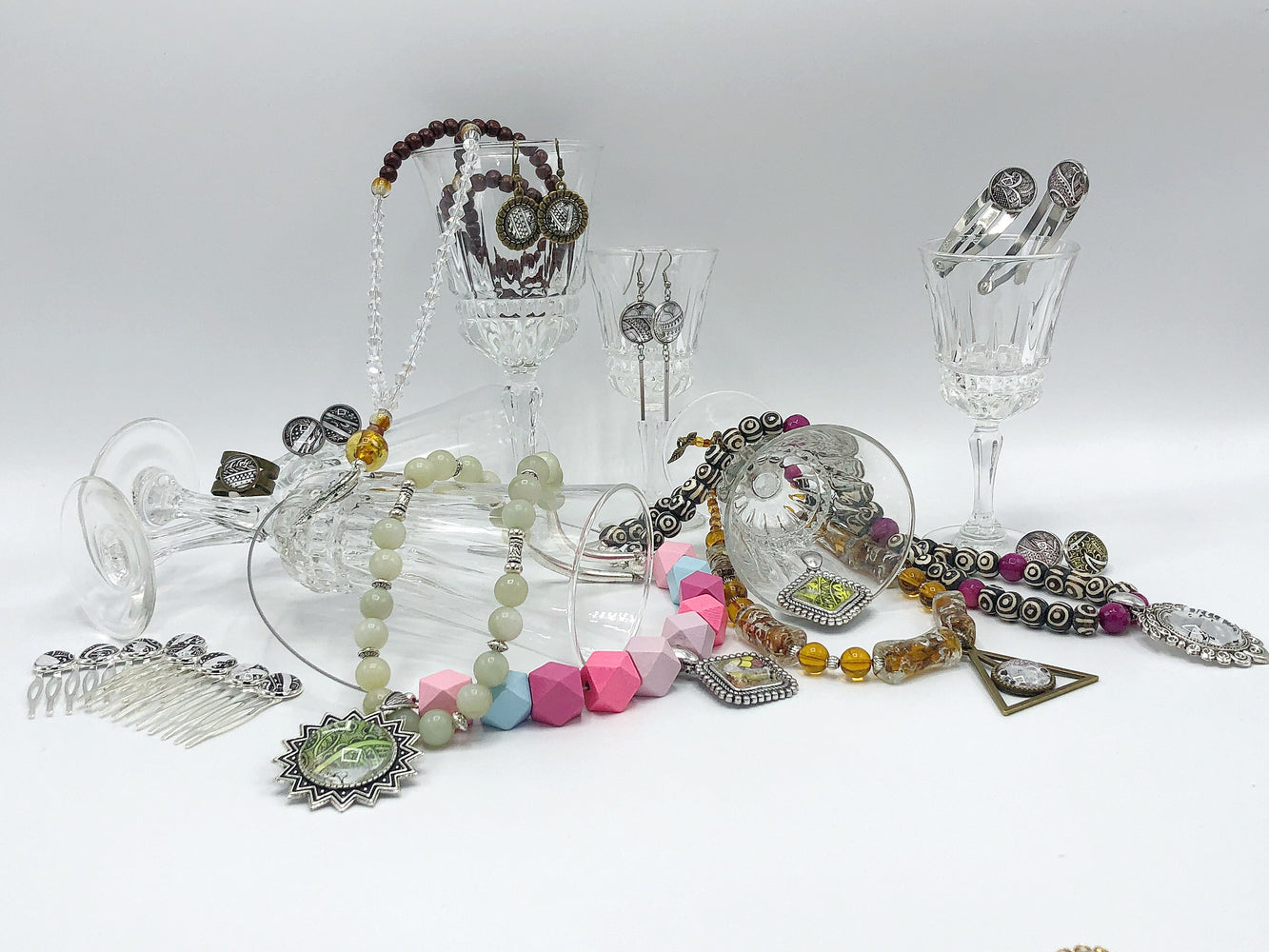 One of a kind Necklaces, cufflinks, bracelets, earrings, hair ornaments and much more