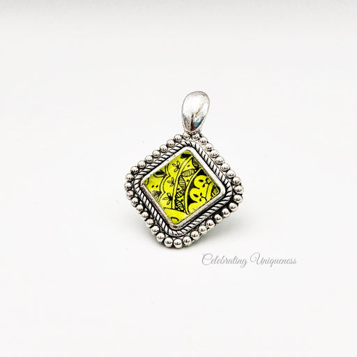 Silver Necklace Pendant with lemon yellow artwork - MeCelebratingU